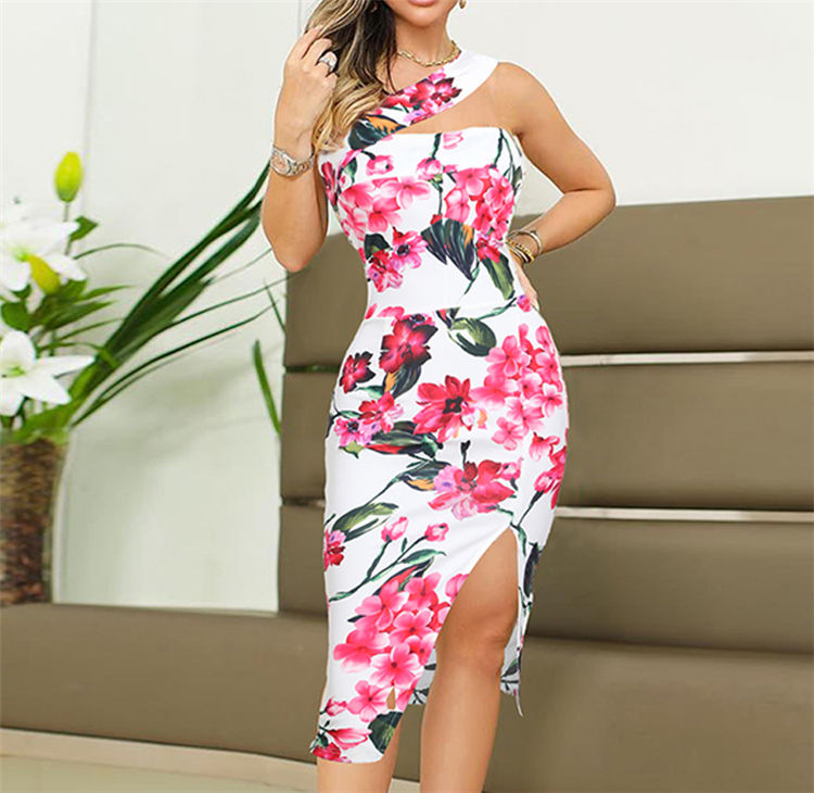 Bulk wholesale lady fashion floral print slit dress summer cheap