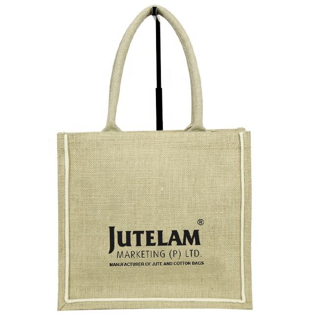 Jute Shopping Bag with Cord Piping, Soft Webbing Handle, with Screen Printing / Promotional Bag SA 8000-2014 Certified India