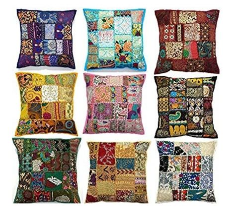 Tangan Bordir Patchwork Sarung Bantal