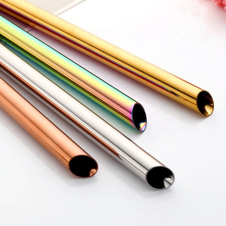 18/8 Easy through plastic layer reusable babo straws Oblique Incisions 12mm stainless steel drinking bubble tea straw