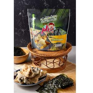 Thai Snack Seafood Crispy Blended Nori Deep Fried Fish Skin Nori Seaweed Flavor by P.K. Brand