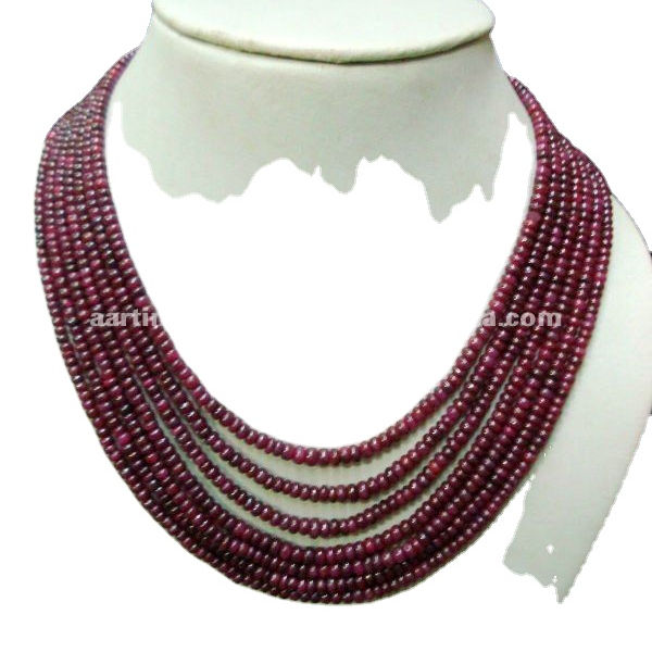 Ruby Rondelle 7-strand Gemstone beads Necklace