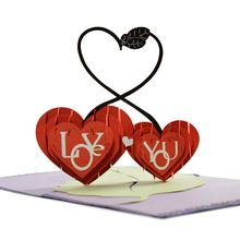 Hot Selling Heart Laser Cut 3D Pop Up card Love Greeting Card Valentine Invitation Card