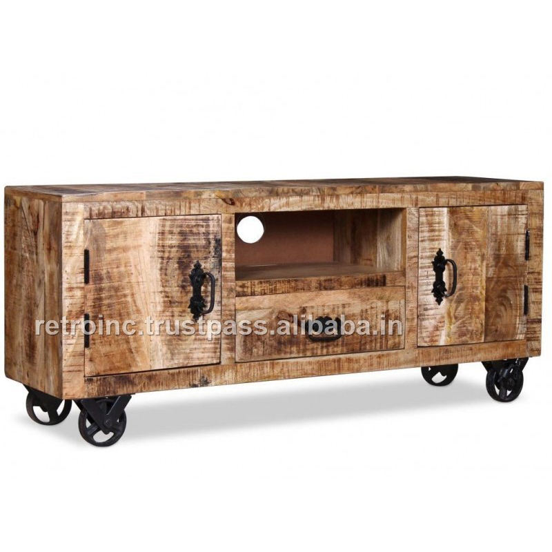 Industrial Natural Mango Ara Wood Media Cabinet with 2 Door and 1 Drawer & 1 Shelf with Natural Iron wheel