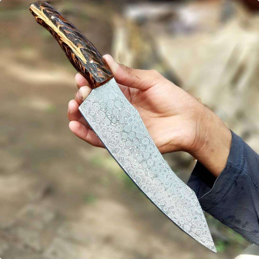 SLR Kitchen meat knife Damascus Heavy sharp steel Custom Made Sheet Handle home cook's knife slicing knife