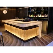 Customized commercial acrylic solid surface modern LED bar counter design for home/restaurant/nightclub