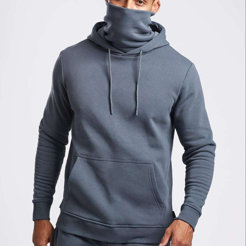 Essential Face Cover Hoodie Plain Printing Fleece gray Pullover Sweatshirt with Face Cover Masked Hoodie For Men