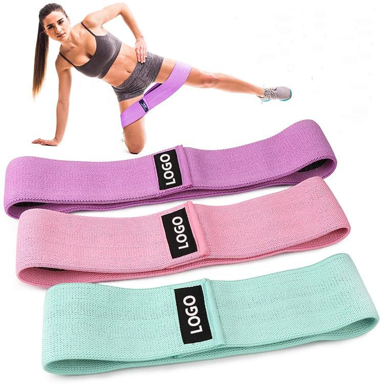 DO-0750 Custom LOGO Durable Cotton Yoga Resistance Bands Exercise Fitness hip circle hip band