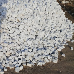 wholesale supply and export of natural snow white marble burnt lumps and big size aggregate