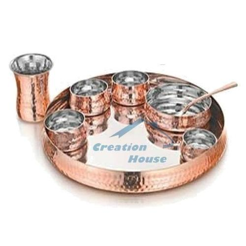 Copper Indian Traditional Dinnerware Set Thali
