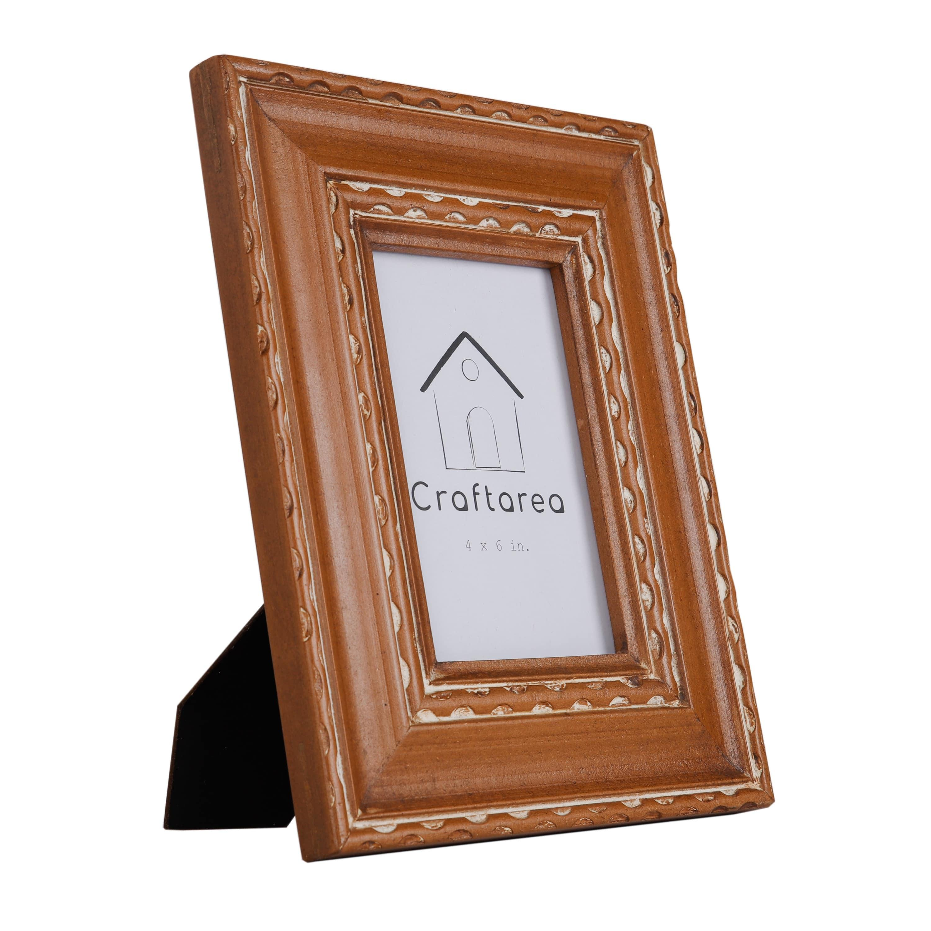 Wooden Handcrafted Table Top Picture Frame (4x6 inches, Brown)