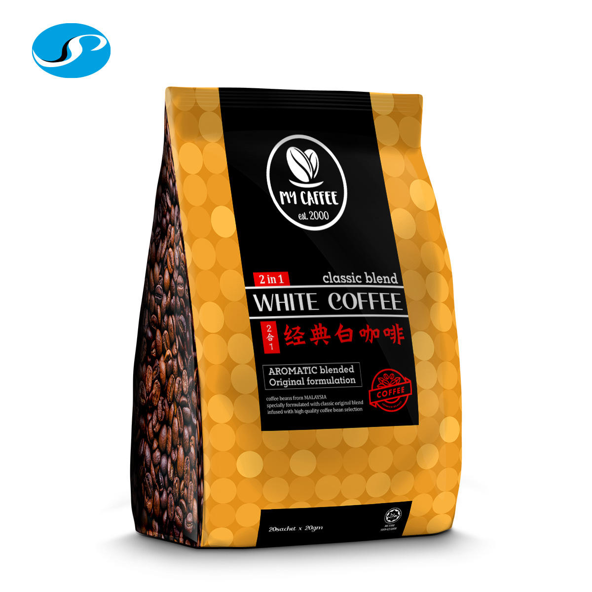 My Caffee 2 in 1 Classic Blend White Coffee with Arabica & Robusta Coffee Beans from OEM ODM OFM Supplier Manufacturer Malaysia