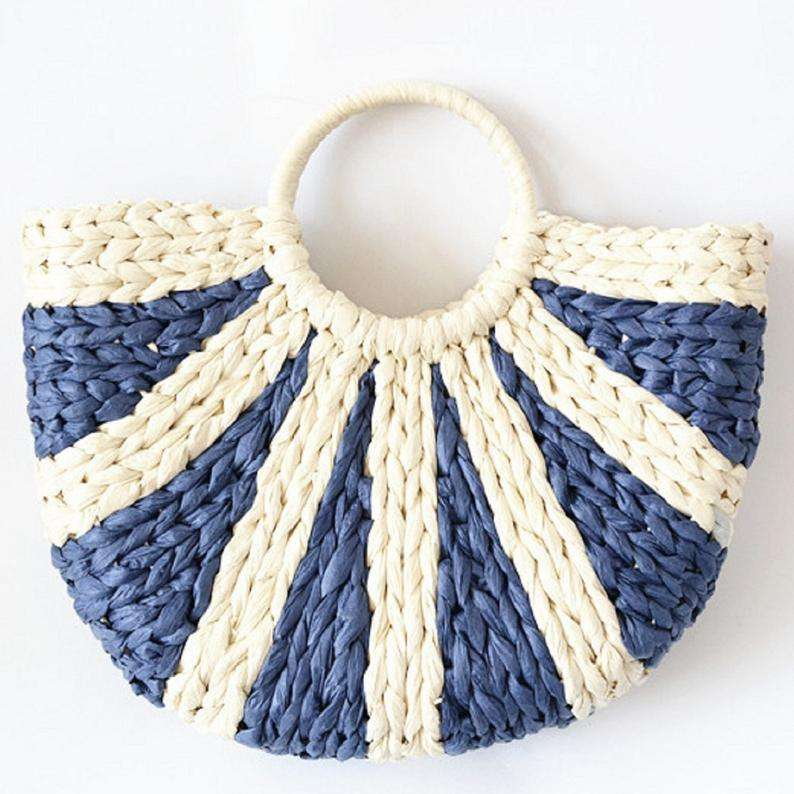 Stripe Corn Husk Straw Bag