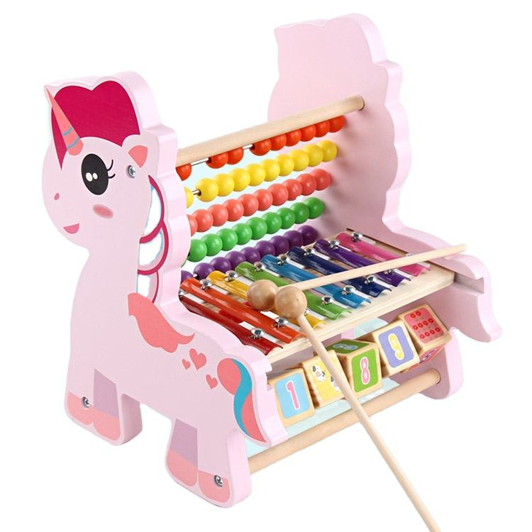 BDJ Baby Pink pony Educational Abacus Math Toys Music Instruments Wooden Xylophone For Kids