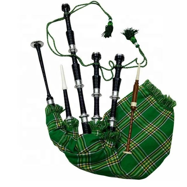 IRISH NATIONAL BAGPIPE with Tartan cover & cord