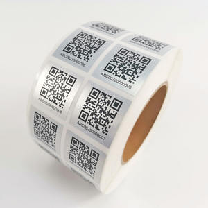 Custom design silver barcode label roll with serial Number printed adhesive sticker