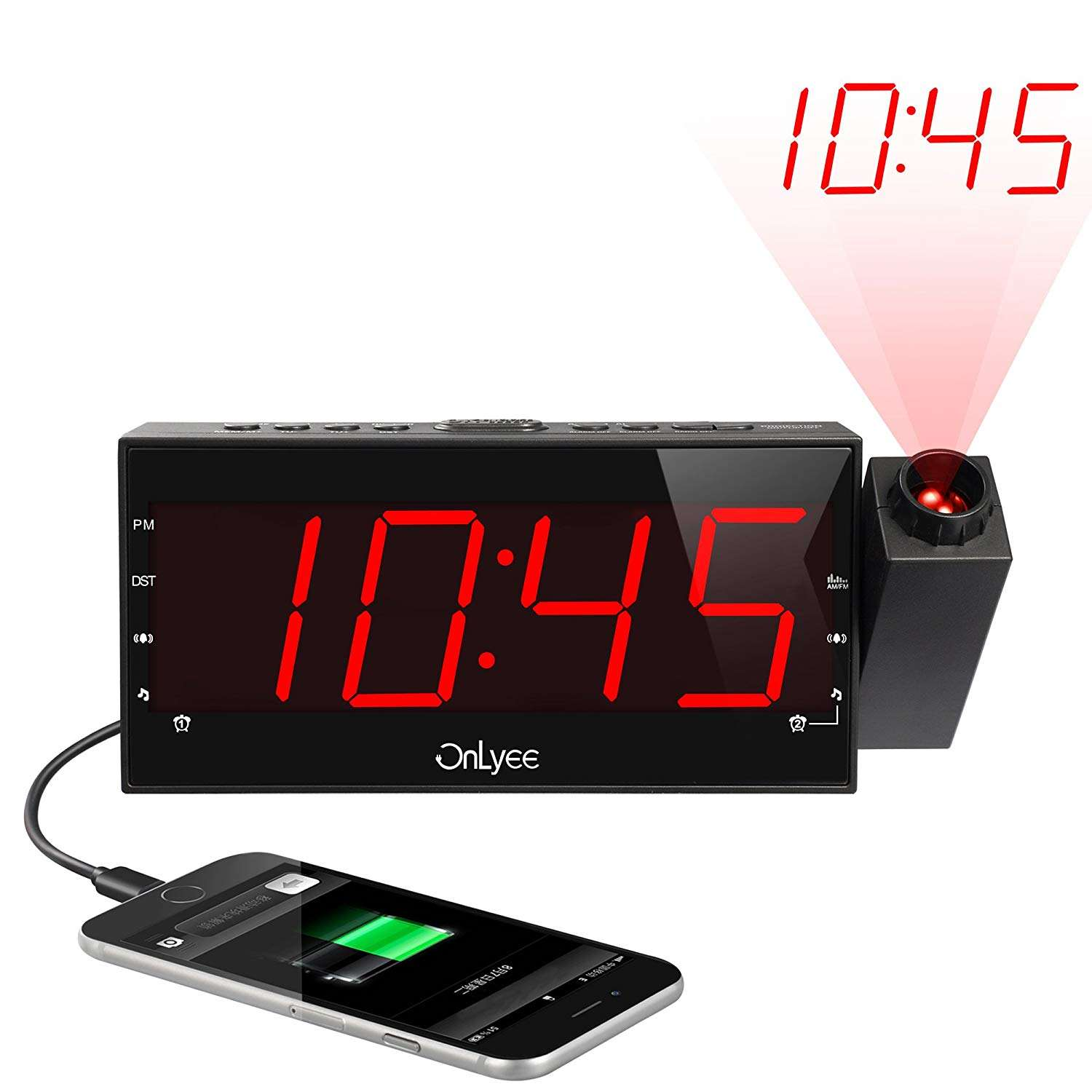 Multifunction Projection Digital Alarm Clock FM Radio with Dimmer, Snooze, Sleep Timer