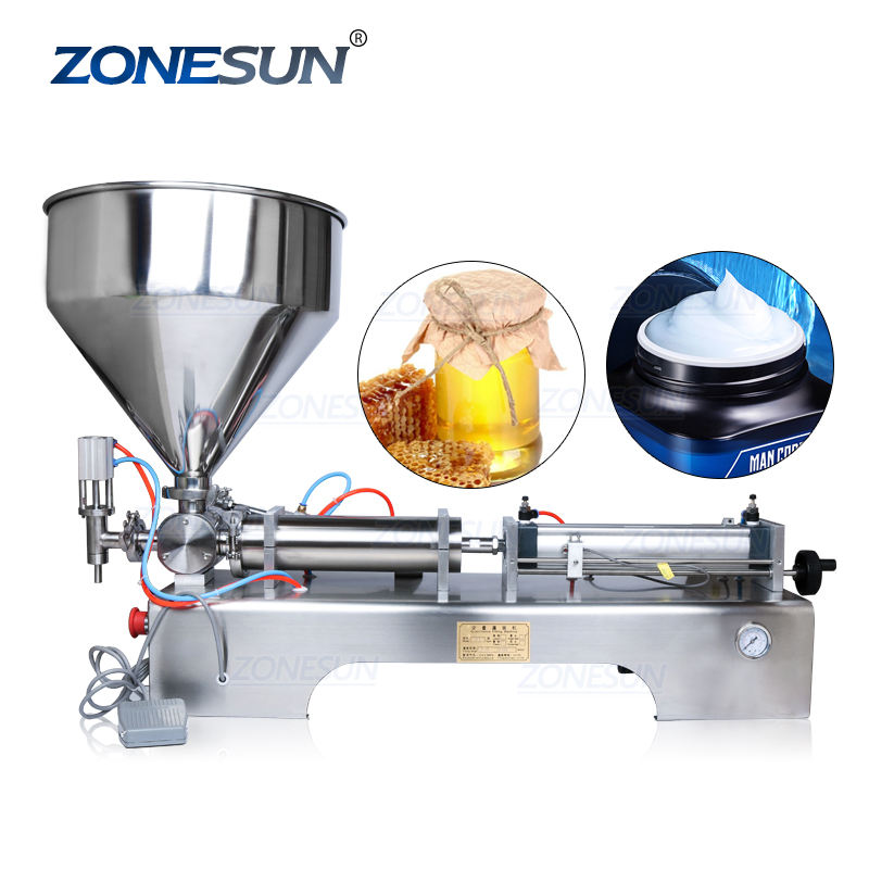 ZONESUN ZS-GT1 10-100ml Pneumatic Volumetric Softdrink Hand Soap Gel Oil Water Juice Honey Cream Paste Filling Machine
