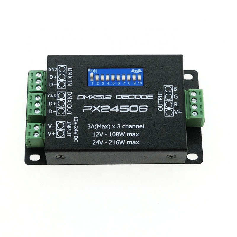 PX24506 DMX512 Decoder Driver 9A DMX 512 Amplifier Controller DC12V 24V RGB LED Strip Light tape LED Lamp Module