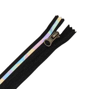 Zippers by meters Wholesale 3# Reflective stripes nylon zipper in zip open close-end nylon zipper 5 for garment