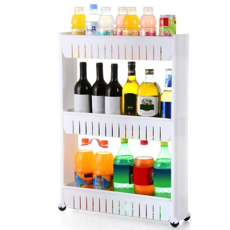 3 layers Plastic Slide Out Storage Cart Tower for Bathroom,Kitchen or Lau