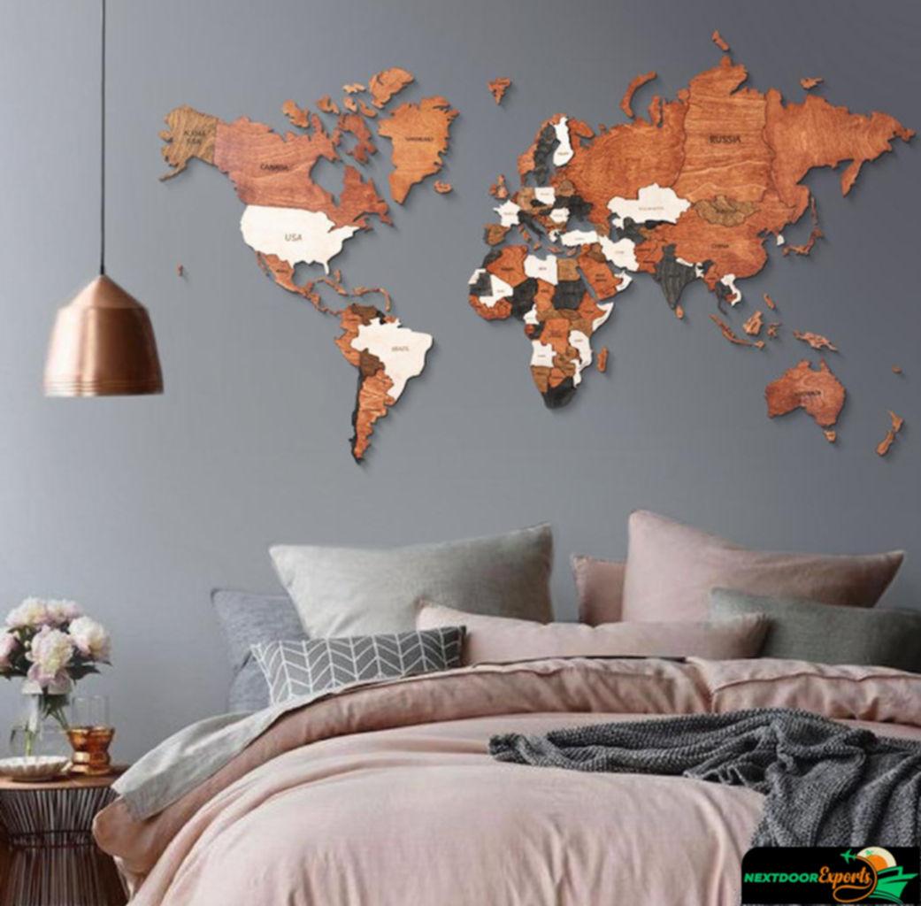 Offres Spéciales élégant Style Moderne Mur Art <span class=keywords><strong>Décor</strong></span> 3D mappemonde EN <span class=keywords><strong>BOIS</strong></span>