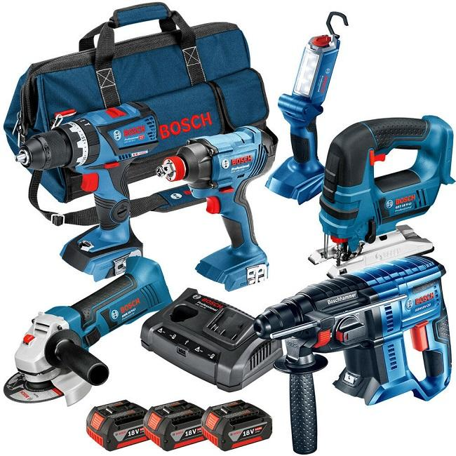 HOT SALES-Bosch 18V 4-Tool CombiO Drill Driver, Circular & Recip Saw Li-Ion PowerK