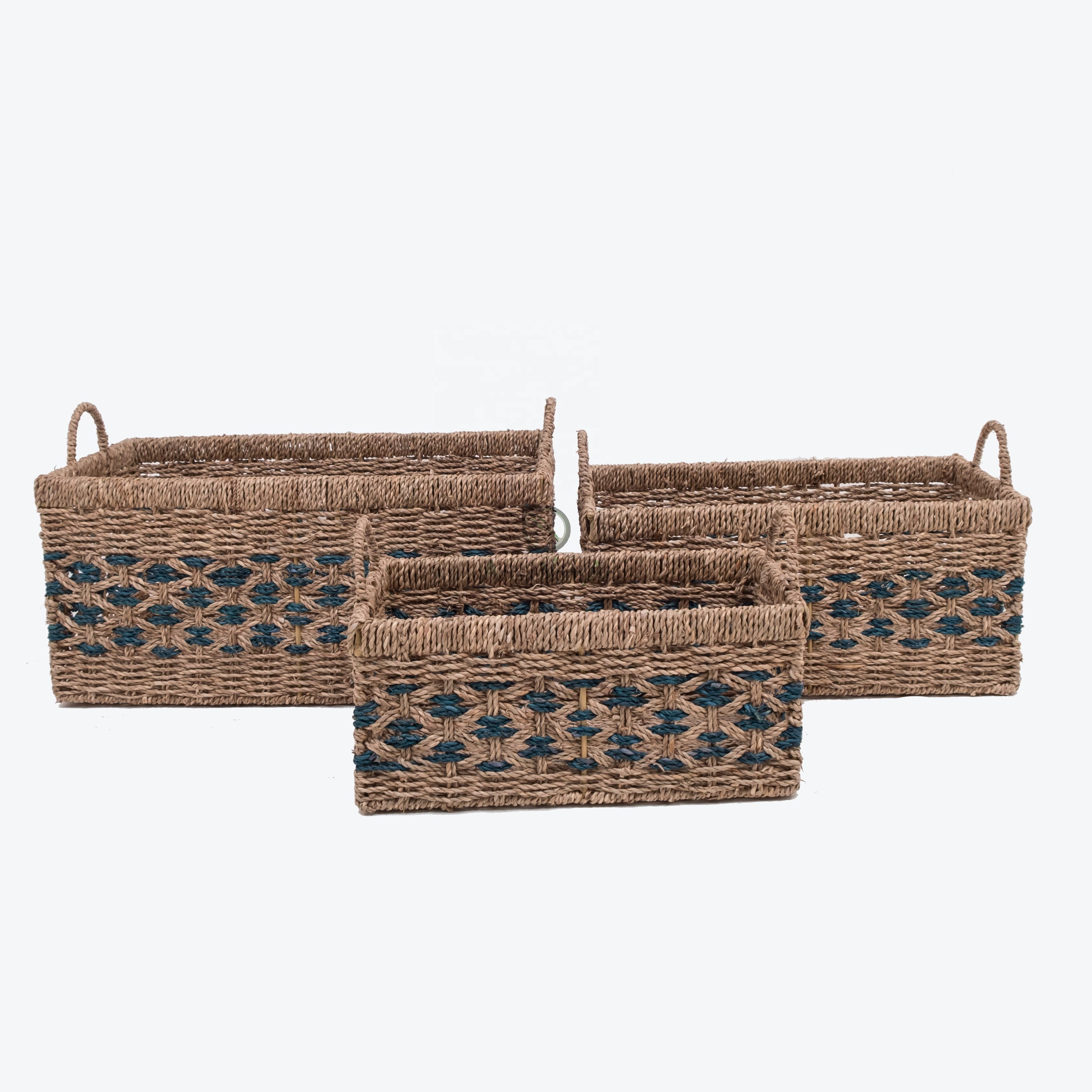 Newest design home storage organizer seagrass woven decorative rectangular basket hamper with handles