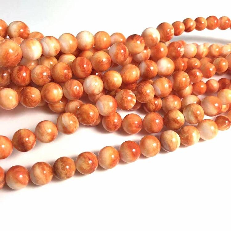 Wholesale Mother of Pearl Natural Sea Shell Spiny Oyster Graduated Round Beads Strand 7~14.5mm Orange Color for Jewelry making