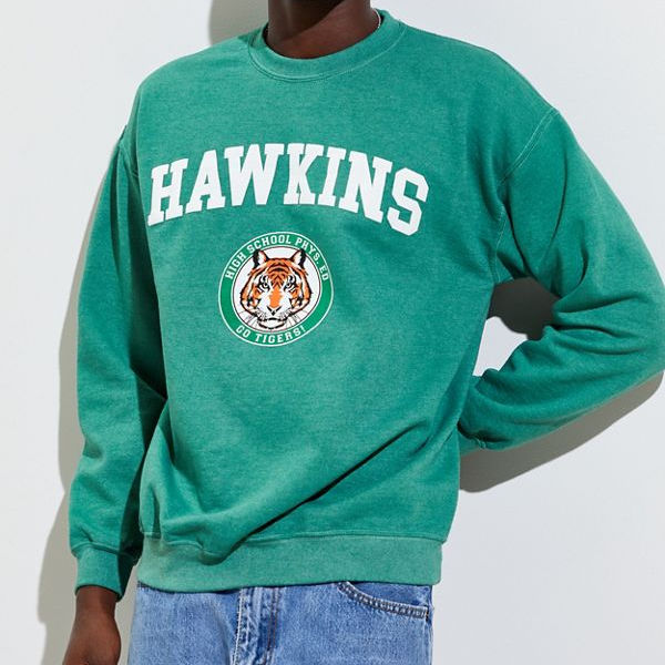 Hawkins High School Pigment Dyed Crew Neck Sweatshirt / Sweatshirt