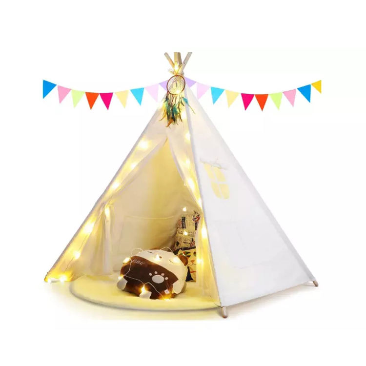 Kids play tent house cotton children's indian tepee tents with led light