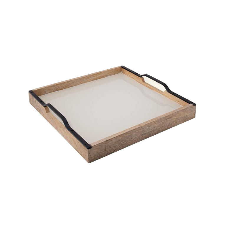 Wooden Serving Tray Rectangle with Handles (Mango Wood, White Natural)