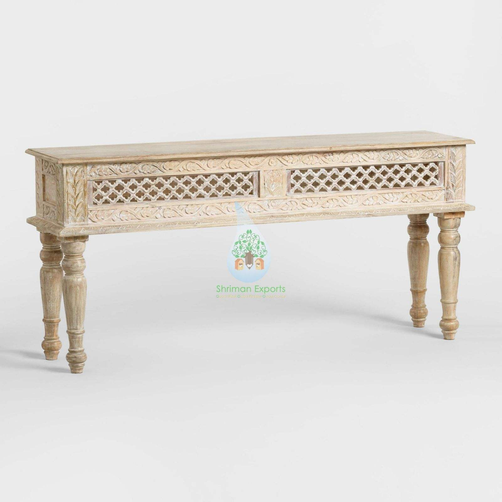 classic antique Indian wood hallway dressing entry living room table modern console hand carved design whitewashed