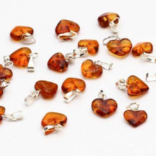 Baltic Amber Heart pendant Souvenir Polished Cognac colour heart with silver loop