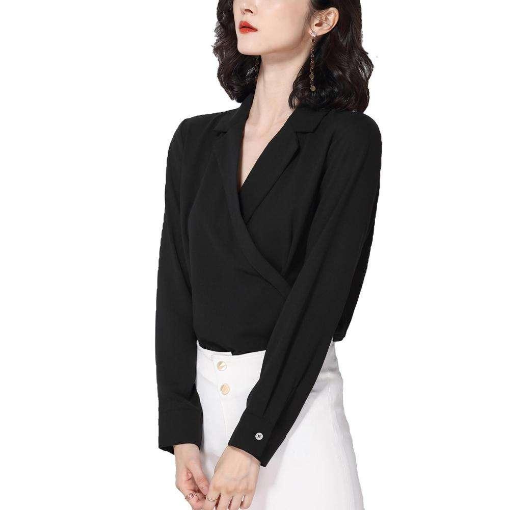 2020 Korea fashion Ladies V-neck chiffon official black blouses