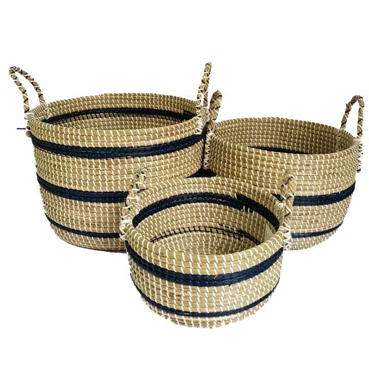 2020 best selling high quality baskets baby changing seagrass basket with handle from vietnam