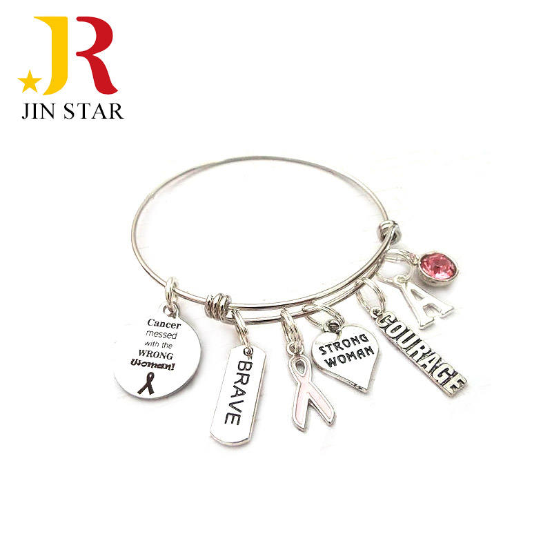 wholesale personalized women gifts awareness breast cancer survivor jewelry charm bracelet