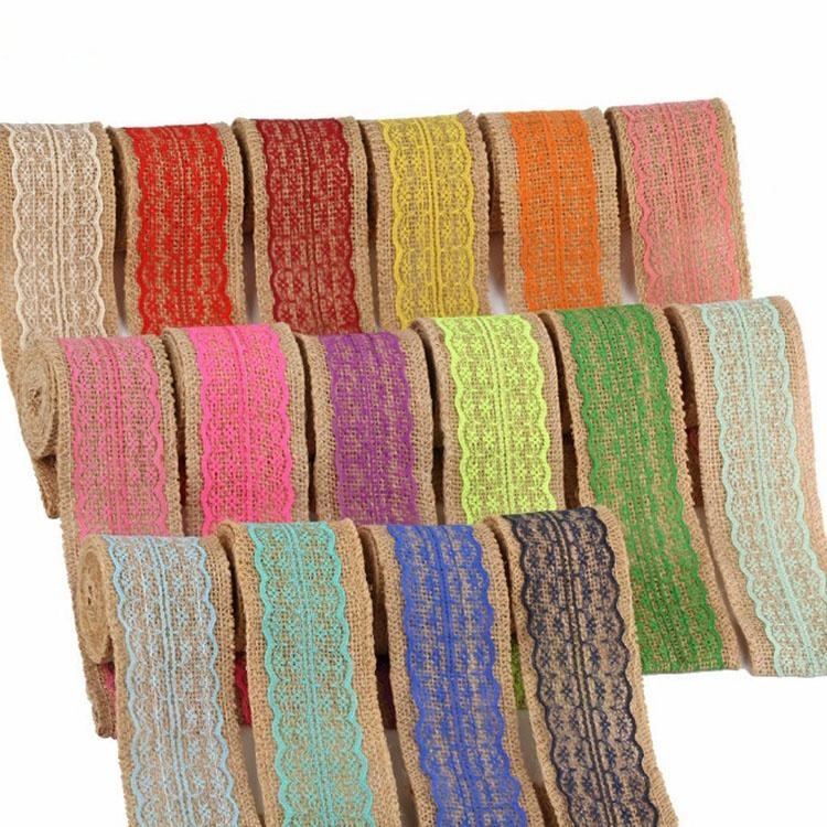 high quality wrapping products roll floral design natural jute ribbon for packing gift boxes 6cm