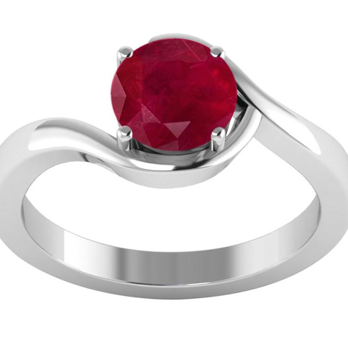 925 Sterling Zilver Ruby Edelsteen Solitaire Ring