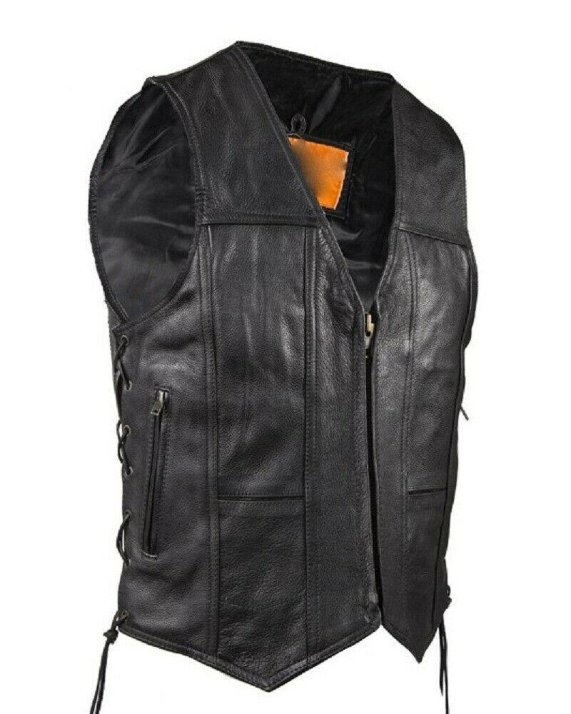 Heren Motorfiets Split Koeienhuid Lederen Vest W/Side Veters & Gun Pocket
