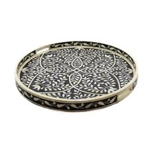 Round Floral Motif Bone Inlay Tray