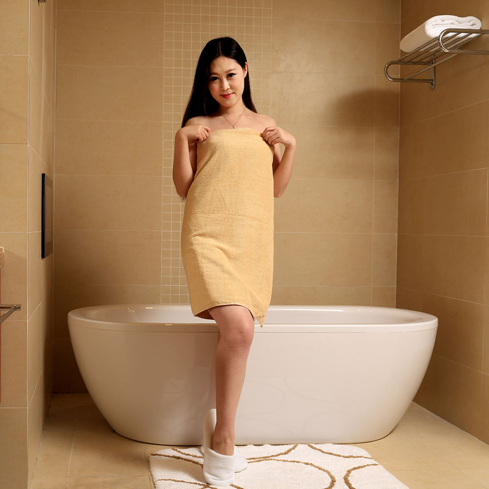 Factory direct hot sale hotel/home use satin yellow bath towel hotel
