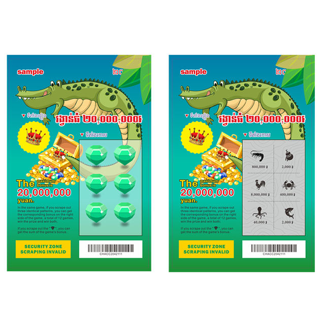 Günstige Instant Win Lotterie Ticket Krokodil Thema Design & Ticket Druck Fabrik