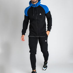 Men Tracksuit OEM Blue Fitted Sweatsuit Tracksuit Zipper Hooded Jogging Men Jogger Track Suit
