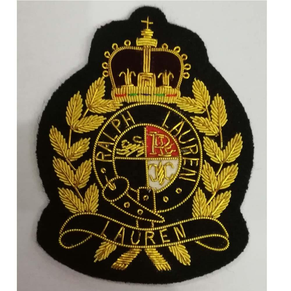 hand embroidered patch/Bullion wire blazer badge for university/Army/Navy crest