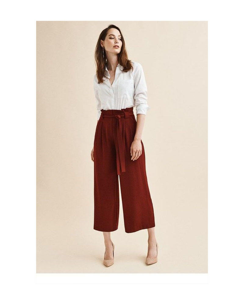 Women High Waist Bow Tie Drawstring Sweet Elastic Fashion Pants Casual Loose Plated Trousers For Ladies