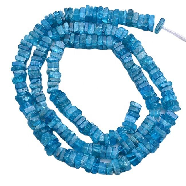 4mm to 5mm Genuine Gemstone Neon Apatite Square Heishi Beads For Jewelry Making