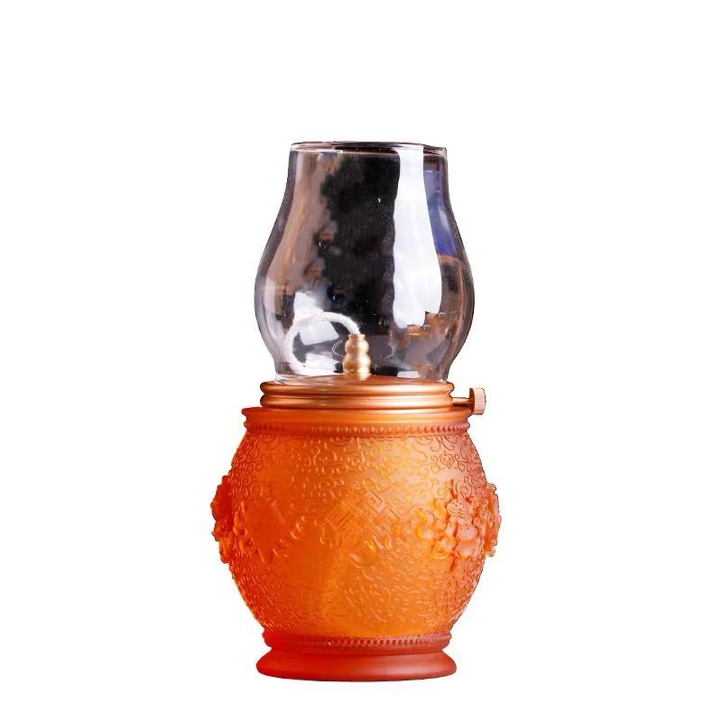 Traditional Liuli Light Lantern Glass Oil Votive Lamp Candle Holder For Home Decor Crystal