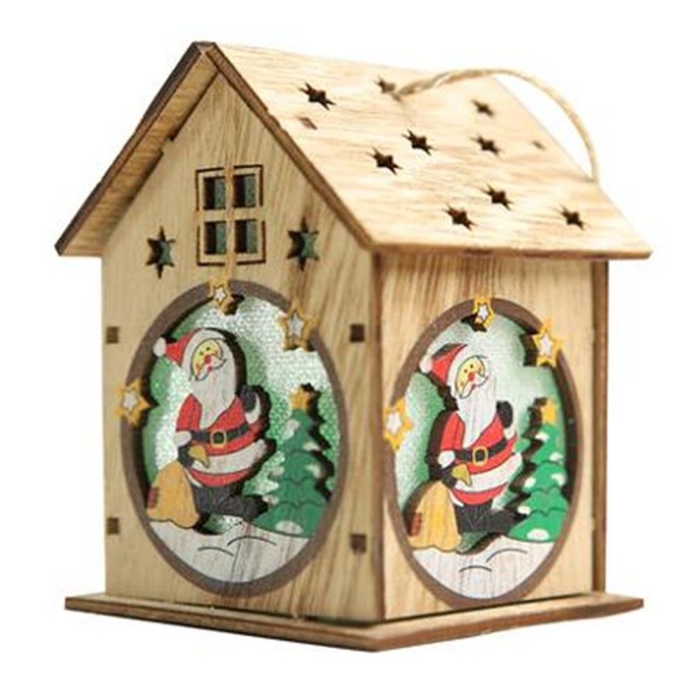 Christmas decoration wooden lighted log cabin creative DIY assembly small house ornaments glowing color cabin ornaments