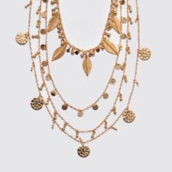Beautifully Designed Metal Necklace With Multi Row, Multi Charms In Gold Plating